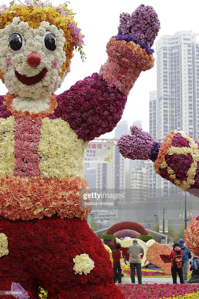Figures made of flowers at the 2013 Hong Kong Flower Show at Victoria Park on March 15, 2013 in Hong Kong, Hong Kong. The 2013 Hong Kong Flower Show opened today and will continue until March 24, 2013.