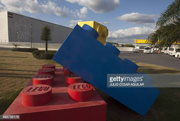 Figures made with bricks are seen outside the Lego company in Monterrey Mexico on October 21 2015 Lego Group plans to expand and invest in factories...