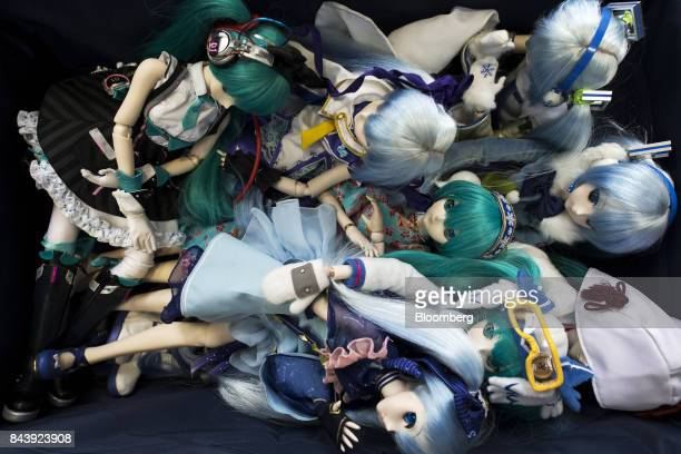Figures of Hatsune Miku a virtual pop star and the voice behind Crypton Future Media Inc's vocal synthesizer softwareare seen at the Hatsune Miku...