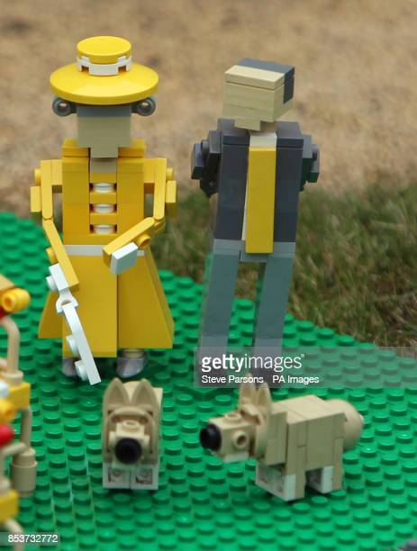 Figures of Queen Elizabeth II and the Duke of Edinburgh feature as part of Legoland Windsor Resort's special first birthday party for Prince George...
