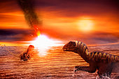 Two figures of dinosaurs Troodon, a reptile from the Campanian age of the Cretaceous period, technique of photoshop are placed in an imaginary seascape