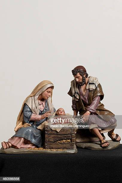 A figurine from a Christmas nativity scene is on display for a picture at Jose Luis Mayo's workshop on December 16 2014 in Madrid Spain Jose Luis...
