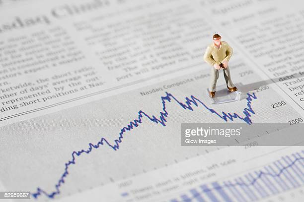 Figurine of a businessman standing on a financial newspaper