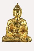 Figurine of the Buddha from bronze on a white background.