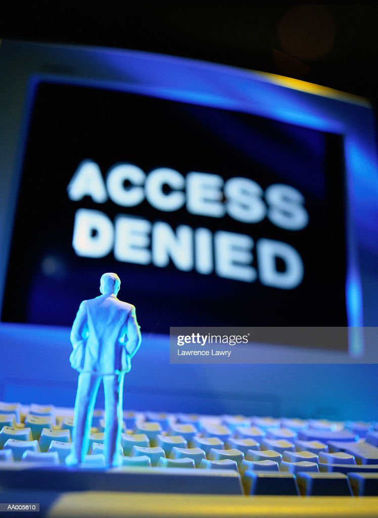 Figurine Reading an Access Denied Sign : Stock Photo