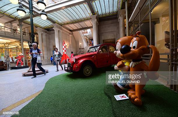 Figurines 'Boule and Bill' from characters created by Belgian cartoonist Jean Roba and Belgian author Maurice Rosy are displayed in the 'Centre Belge...