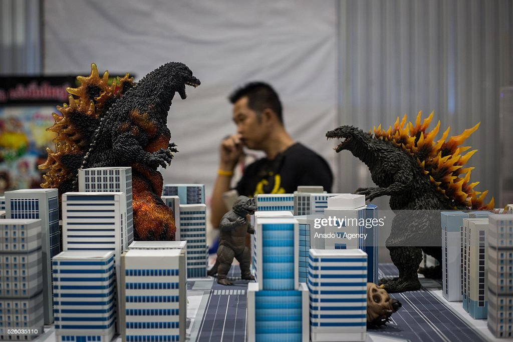 Figurines from the movie Godzilla are seen during the Bangkok Comic Con 2016 Festival at Bitec Exhibition Centre in Bangkok, Thailand on April 29, 2016. 'Cosplay' imitates characters from comics, video games, anime series and science fiction movies, mostly coming from the Japanese pop culture. Bangkok Comic Con is one of the biggest Pop Culture exhibition in Asia starts from 29 April until 1 May 2016. The event hopes to turn Thailand into a major center for international filmmakers and animators come to create their masterpieces. Comic Con is an internationally renowned event in the world of animation as it started in 1970 in San Diego.
