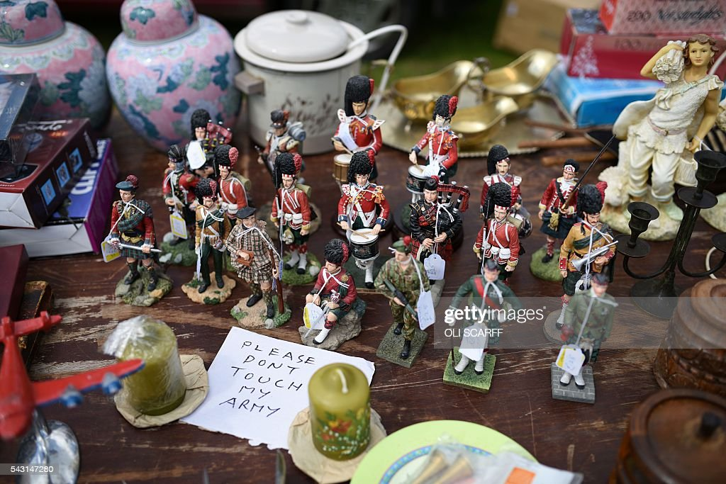 Figurines of soldiers from Scottish regiments are displayed for sale on a stall at a car boot sale in the village of St Boswells, Scotland close to the border between England and Scotland on June 26, 2016. Scotland's First Minister Nicola Sturgeon campaigned strongly for Britain to remain in the EU, but the vote to leave has given the Scottish National Party leader a fresh shot at securing independence. Sturgeon predicted more than a year ago that a British vote to leave the alliance would give pro-European Scots cause to hold a second referendum on breaking with the UK. SCARFF