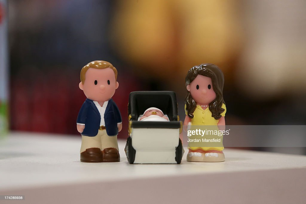 Figurines of the Duke and Duchess of Cambridge go on display in the Oxford Street chain of Mothercare on July 23, 2013 in London, England. The Duchess of Cambridge yesterday gave birth to a boy at 16.24 BST and weighing 81b 6oz, with Prince William at her side. The baby, as yet unnamed, is third in line to the throne and becomes the Prince of Cambridge.