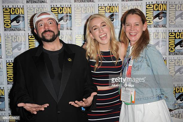 Fiilmmaker Kevin Smith Harley Quinn Smith and Jennifer Schwalbach Smith speak onstage at the 'Yoga Hosers' panel during ComicCon International 2015...