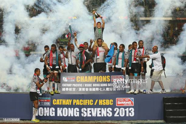 Fiji celebrate after winning the cup final match between Fiji and Wales during day three of the 2013 Hong Kong Sevens at Hong Kong Stadium on March...