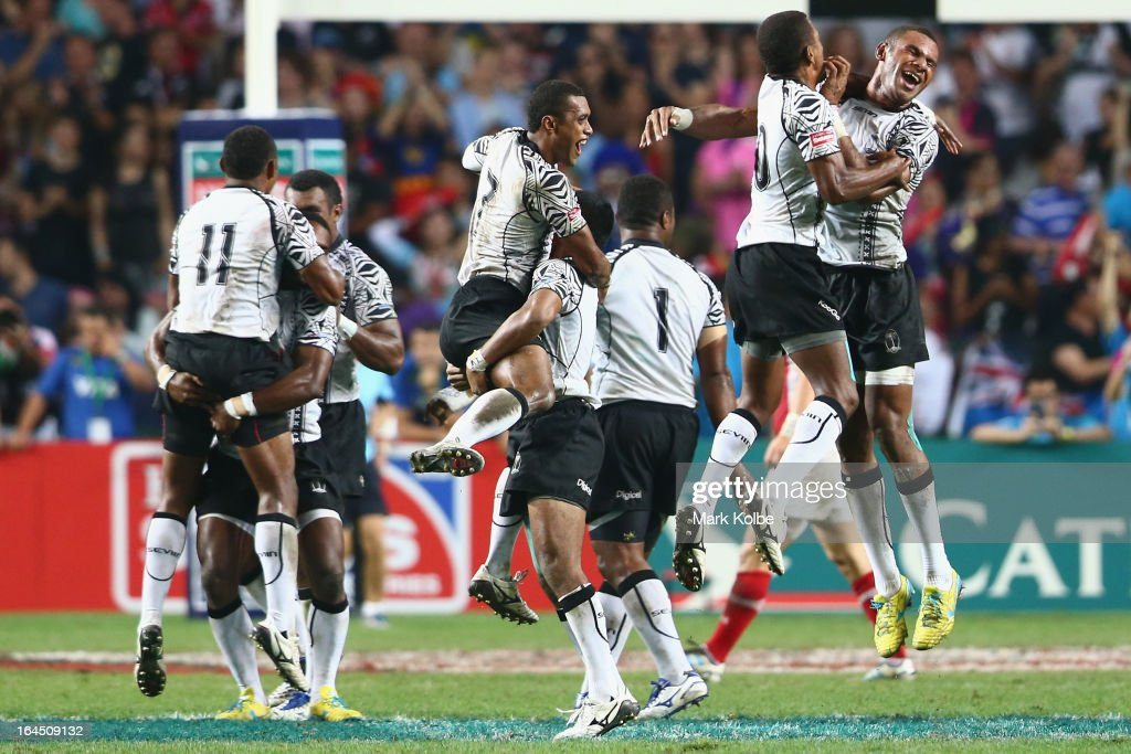 Fiji celebrate after winning the cup final match between Fiji and Wales during day three of the 2013 Hong Kong Sevens at Hong Kong Stadium on March 24, 2013 in So Kon Po, Hong Kong.