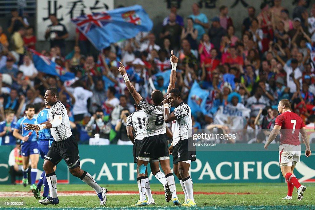 Fiji celebrate after winning the cup final match between Fiji and Wales during day three of the 2013 Hong Kong Sevens at Hong Kong Stadium on March 24, 2013 in So Kon Po, Hong Kong.