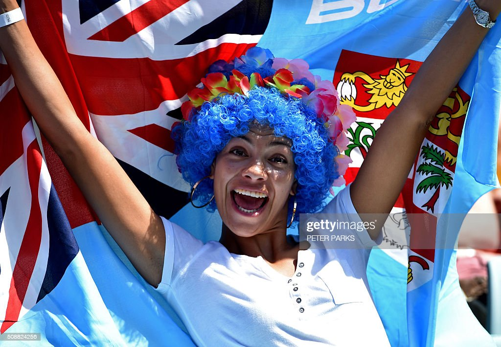 A Fiji fan enjoys herself at the Sydney Sevens rugby union tournament in Sydney on February 7, 2016. AFP PHOTO / Peter PARKS -- IMAGE RESTRICTED TO EDITORIAL USE - NO COMMERCIAL USE / AFP / PETER PARKS