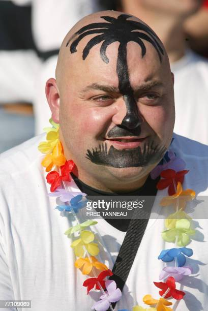 A Fiji fan is pictured prior the rugby union World Cup group B match Wales vs Fiji 29 September 2007 at the La Beaujoire stadium in Nantes western...