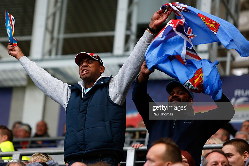 Fiji fans cheer as their side score a try during the Rugby League World Cup Group A match at the KC Stadium on November 9, 2013 in Hull, England.