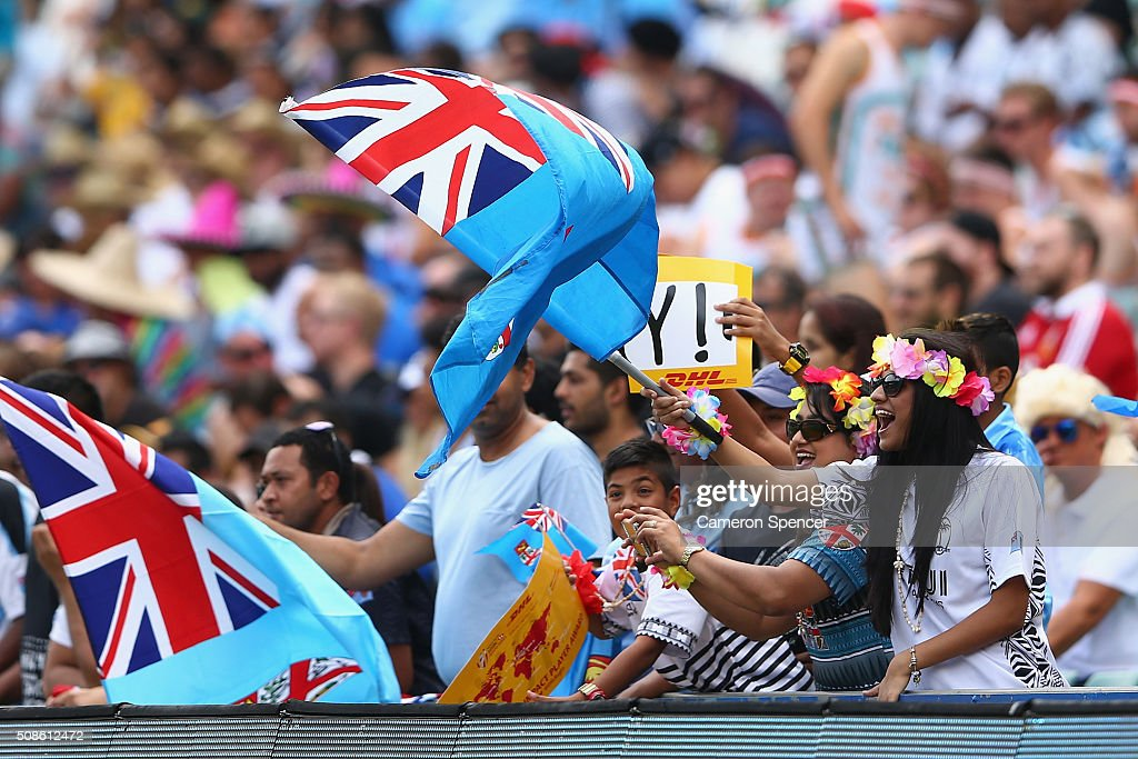 Fiji fans enjoy the atmosphere during the 2016 Sydney Sevens match between Samoa and Fiji at Allianz Stadium on February 6, 2016 in Sydney, Australia.