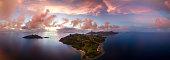 Aerial shot of Fiji islands at sunset