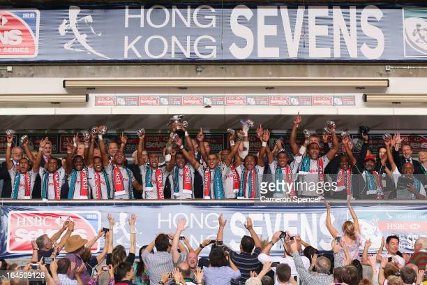 Fiji players celebrate winning the Cup Final match between Fiji and Wales during day three of the 2013 Hong Kong Sevens at Hong Kong Stadium on March...
