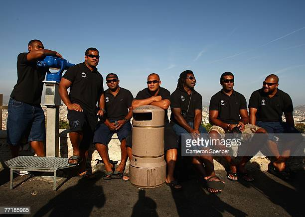 Fiji players relax at the Basilique NotreDame de la Garde on October 4 2007 in Marseille France