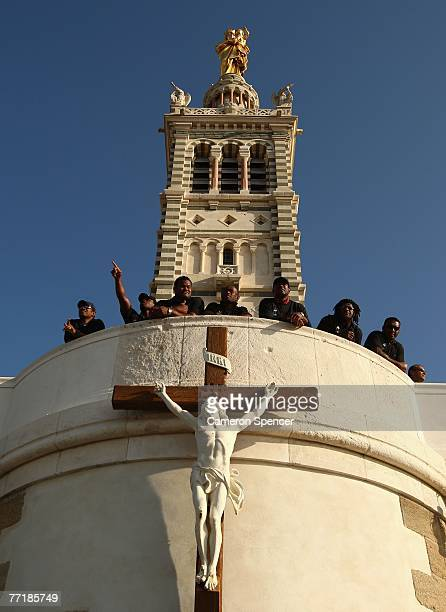 Fiji players take in the view from the Basilique NotreDame de la Garde on October 4 2007 in Marseille France