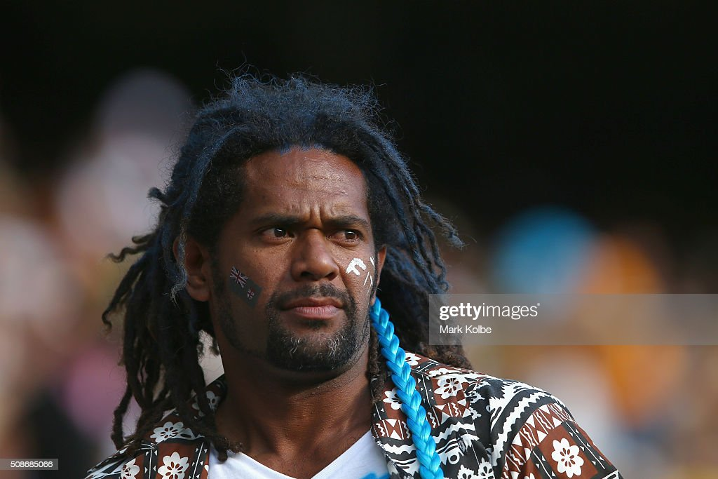 A Fiji supporter in the crowd watches on during the 2016 Sydney Sevens at Allianz Stadium on February 6, 2016 in Sydney, Australia.