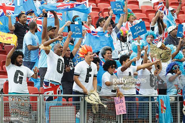 Fiji supporters cheer during the 2016 Singapore Sevens Cup Quarter Final between Fiji and Australia at National Stadium on April 17 2016 in Singapore