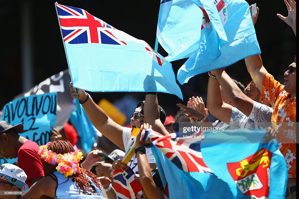 Fiji supporters cheer during the 2016 Sydney Sevens match between Fiji and France at Allianz Stadium on February 6, 2016 in Sydney, Australia.