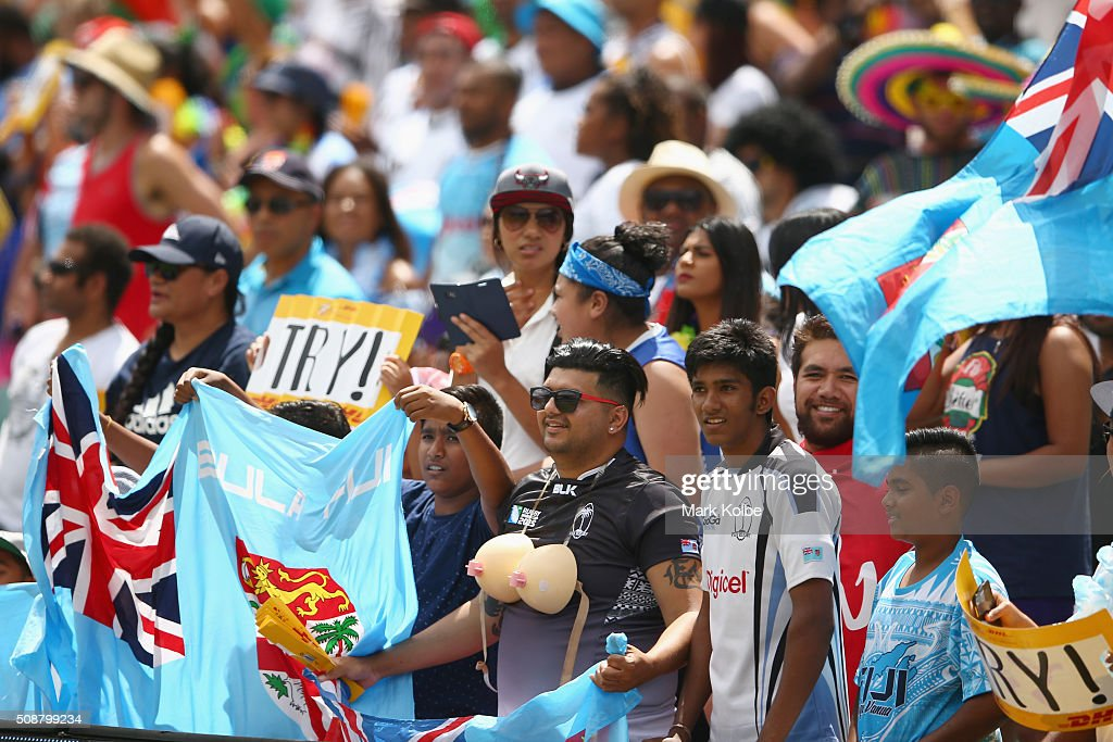 Fiji supporters in the crowd cheer during the 2016 Sydney Sevens cup quarter final match between Fiji and Kenya at Allianz Stadium on February 7, 2016 in Sydney, Australia.