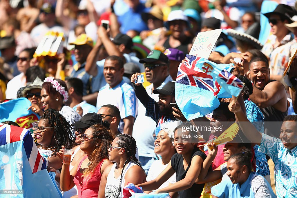 Fiji supporters in the crowd cheer during the 2016 Sydney Sevens cup semi final match between New Zealand and Fiji at Allianz Stadium on February 7, 2016 in Sydney, Australia.