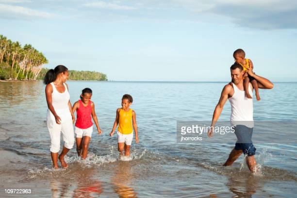 Fijian Family at The Beach