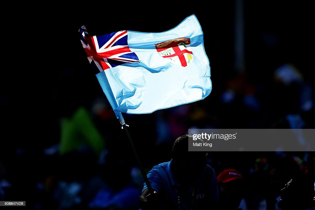 A Fijian flag is flown during the 2016 Sydney Sevens at Allianz Stadium on February 7, 2016 in Sydney, Australia.