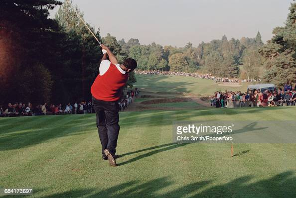 Fijian golfer Vijay Singh pictured in action driving off a tee during competition in the 1994 Toyota World Match Play Championship at Wentworth Golf...