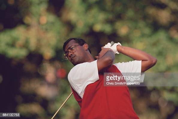 Fijian golfer Vijay Singh pictured in action during competition in the 1994 Toyota World Match Play Championship at Wentworth Golf Club near Virginia...