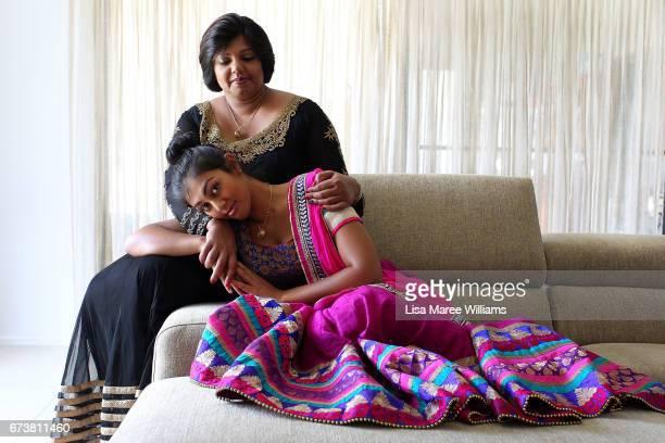 Fijian Indian Shalini Pratap with daughter Vineesha Veer wear traditioanl Indian clothing at their home on January 27 2017 in Tamworth Australia...