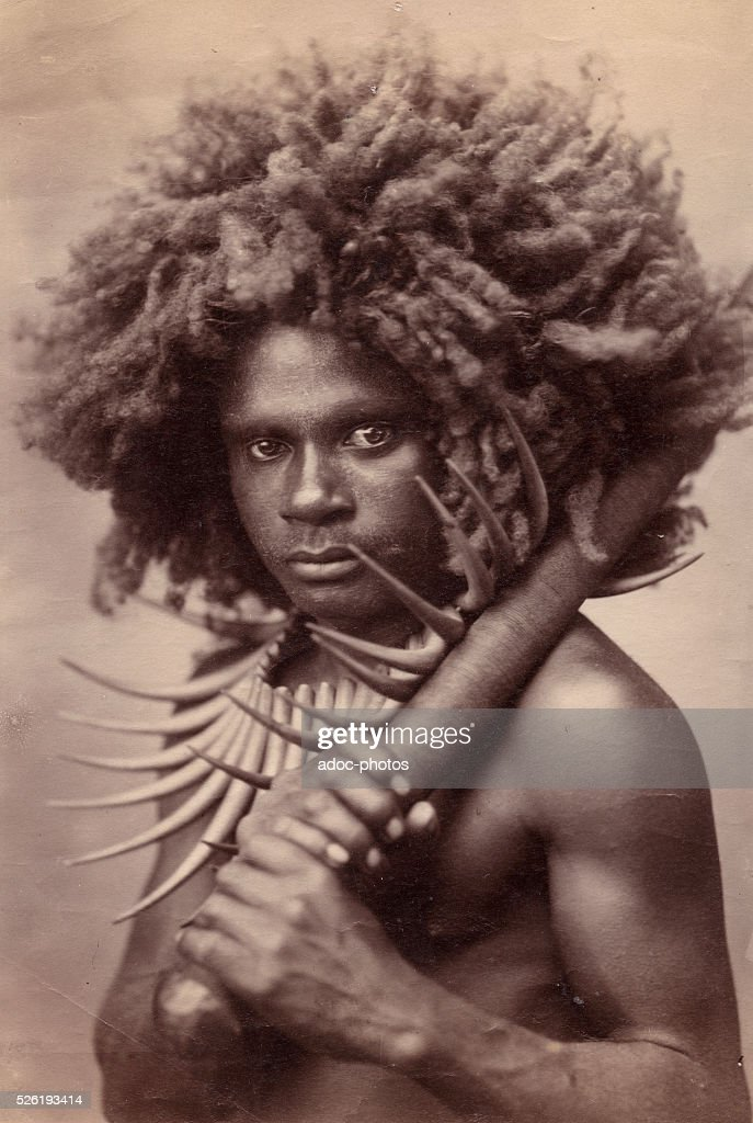 Fijian man (Republic of the Fiji Islands). Ca. 1880.