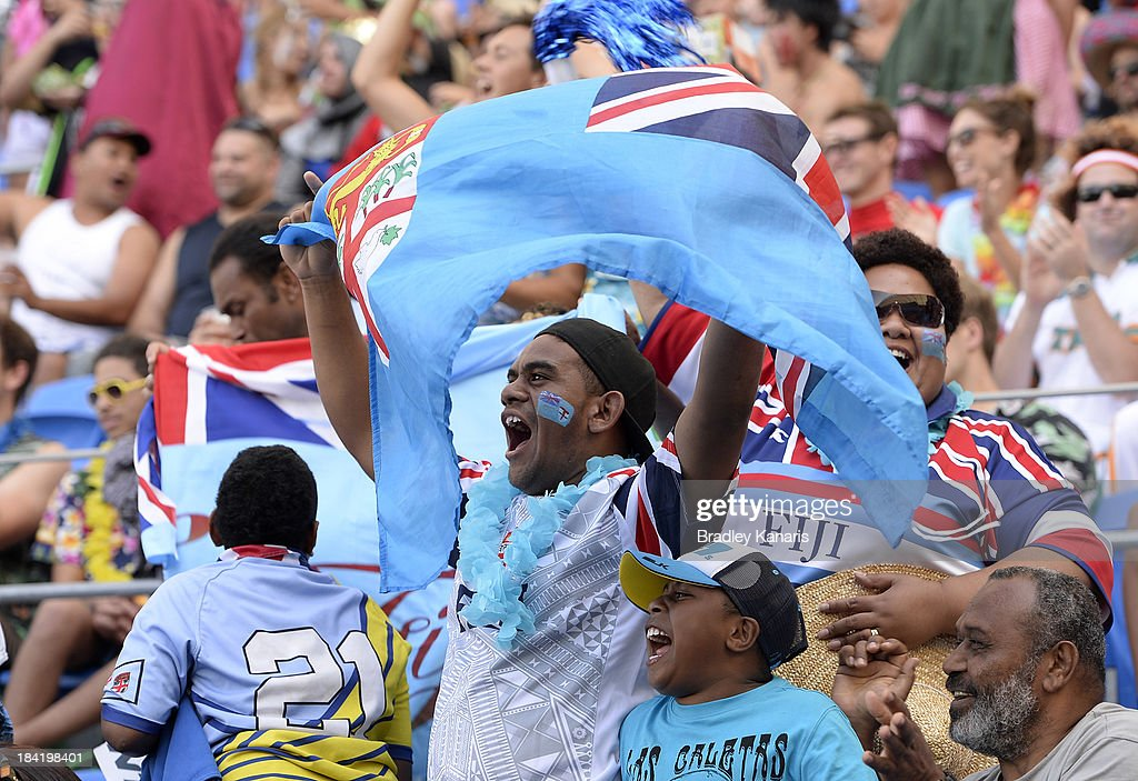 A Fijian supporter shoes his colours during the Gold Coast Sevens round two match between Fiji and Portugal at Skilled Stadium on October 12, 2013 in Gold Coast, Australia.