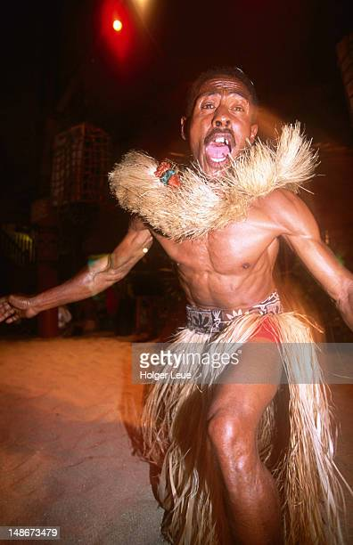 Fijian warrior at Meke dance performance.