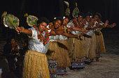 Fijian women dancing a traditional female dance Meke the fan dance. Real people copy space