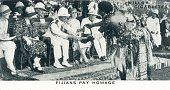 Fijians Pay Homage' 1937 The Duke and Duchess of York in Fiji during their tour of Australia and New Zealand in 1927 The chief of the Fijians is seen...
