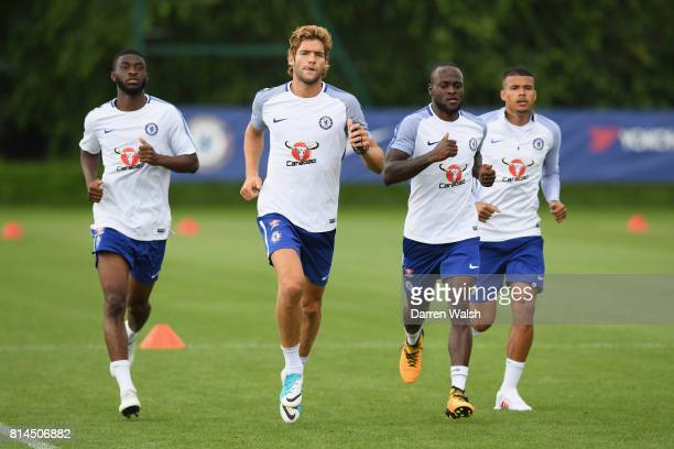 Fikayo Tomori Marcos Alonso Victor Moses Kenedy of Chelsea during a training session at Chelsea Training Ground on July 14 2017 in Cobham England