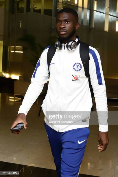 Fikayo Tomori of Chelsea FC arrives at Jet Quay Private Terminal ahead of the International Champions Cup on July 23 2017 in Singapore