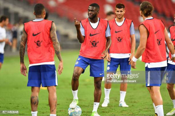 Fikayo Tomori of Chelsea FC holds the ball during a Chelsea FC International Champions Cup training session at National Stadium on July 24 2017 in...