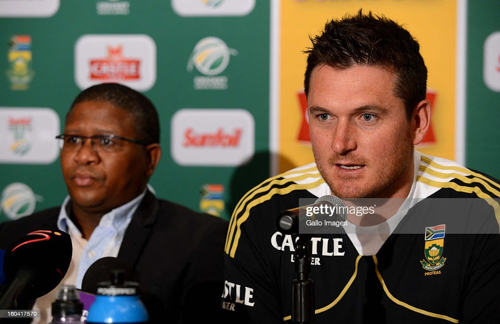 <a gi-track='captionPersonalityLinkClicked' href=/galleries/search?phrase=Fikile+Mbalula&family=editorial&specificpeople=4462961 ng-click='$event.stopPropagation()'>Fikile Mbalula</a> (Minister of Sport and Recreation) and <a gi-track='captionPersonalityLinkClicked' href=/galleries/search?phrase=Graeme+Smith&family=editorial&specificpeople=193816 ng-click='$event.stopPropagation()'>Graeme Smith</a> (R) attend the South African National cricket team press conference at Sandton Sun Hotel on January 31, 2013 in Johannesburg, South Africa.