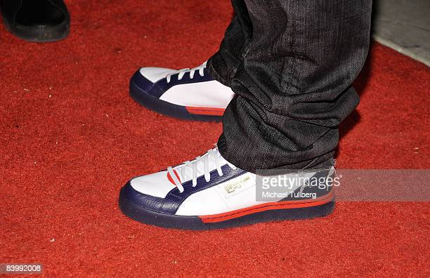 Fila shoes worn by musician Joel Madden at the launch party for Sportie LA's new Special Edition Melrose women's footwear by Fila on December 10 2008...