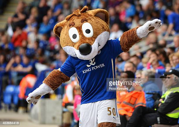 Filbert Fox the Leicester City mascot is pictured during the Barclays Premier League match between Leicester City and Everton at the King Power...