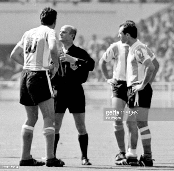 File dated 23766 of former Argentine captain Antonio Rattin being sent off by the German referee officiating at Wembley during their match against...