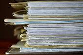 File folder on a desk in the office
