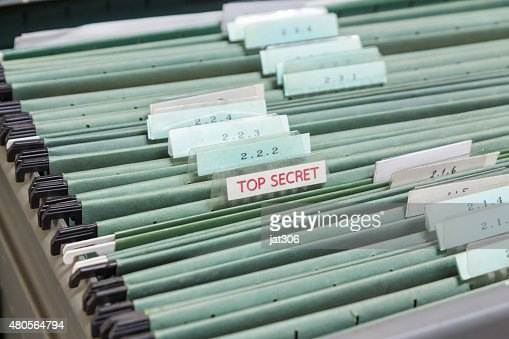 File folders in a filing cabinet : Stock Photo