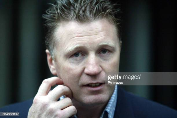 File image dated 02/12/03 former world boxing champion Steve Collins after appearing in Southend Magistrates' Court accused of slamming a fridge door...
